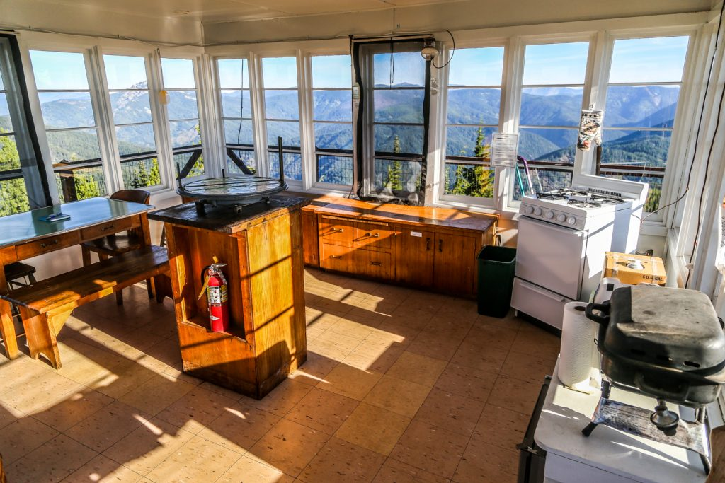 inside of surveyors lookout tower idaho